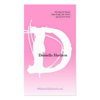 D Letter Alphabet Business Card Pink White