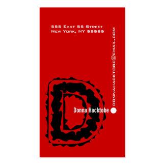 D Letter Alphabet Business Card Red