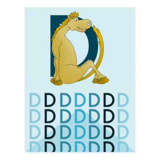 D Letter  Light blue card Flexible pony bunting. Postcard
