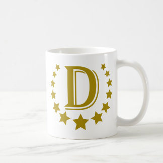 D-Letter-Stars-Crown- Classic White Coffee Mug