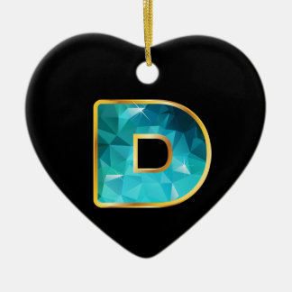 """D Low-Poly Teal Water in """"Gold"""" Channel Ceramic Ornament"""