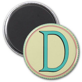 D MONOGRAM 2 INCH ROUND MAGNET