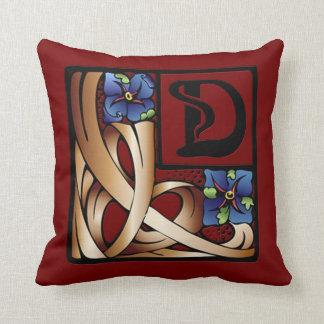 """""""D"""" Monogram Art Nouveau Square Pillow #1"""