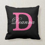 D Monogram Chevron Hot Pink With Name On Black Pillow