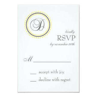 "D Monogram Dot Circle RSVP Cards (Yellow / Gray) 3.5"" X 5"" Invitation Card"