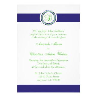 D Monogram Dot Circle Wedding Invitations (Navy)
