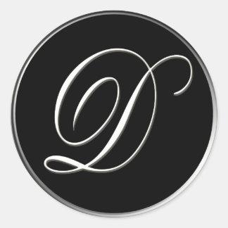 D monogram - elegant black and white classic round sticker