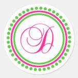 D Monogram (Hot Pink / Green Dot Circle) Classic Round Sticker