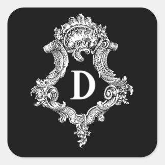 D Monogram Initial Square Sticker