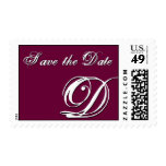 D Monogram Letter  Save the Date Wine Postage