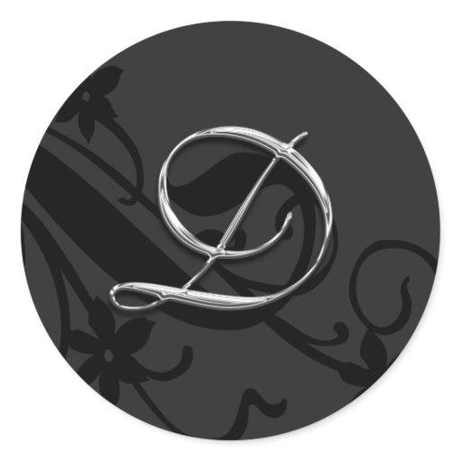D Monogram Letter Wedding Envelope Seal Sticker