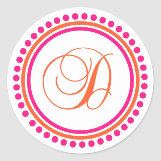 D Monogram (Pink / Orange Dot Circle) Classic Round Sticker