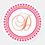 D Monogram (Pink / Orange Dot Circle) Round Sticker