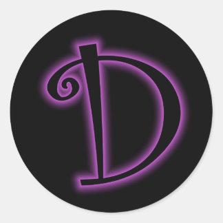 D Monogram Purple Neon Round Stickers