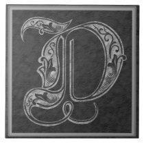 "D Monogram ""Royal Grey Stone"" Ceramic Tile"