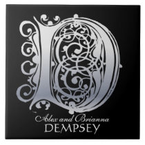 """D Monogram """"Silver Lace on Black"""" with Names Tile"""