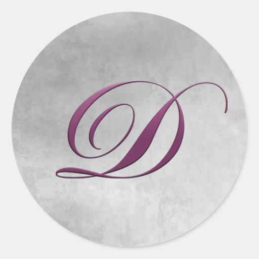 D Monogram Sticker Purple and Grunge