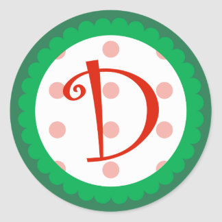 D Monogram Whimsical Christmas Stickers