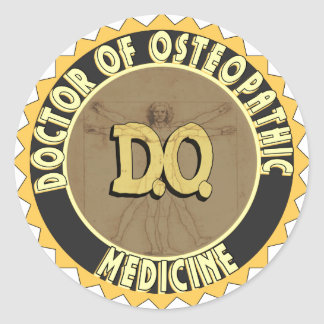 D.O. BADGE vitruvian Man DOCTOR OSTEOPATHY Classic Round Sticker