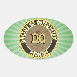 D.O. BADGE vitruvian Man DOCTOR OSTEOPATHY Oval Sticker