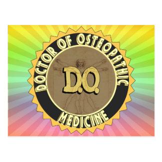 D.O. BADGE vitruvian Man DOCTOR OSTEOPATHY Postcard