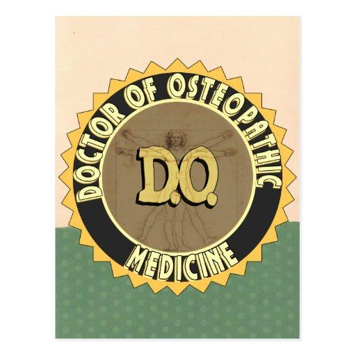 D.O. BADGE vitruvian Man DOCTOR OSTEOPATHY Post Card