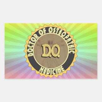 D.O. BADGE vitruvian Man DOCTOR OSTEOPATHY Rectangular Sticker
