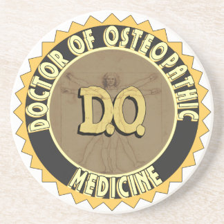 D.O. BADGE vitruvian Man DOCTOR OSTEOPATHY Sandstone Coaster