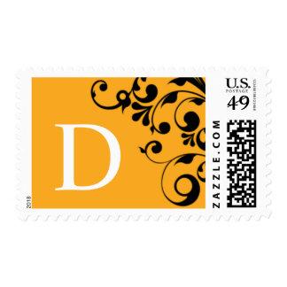 D Orange Color Theme Monogram Wedding Postage