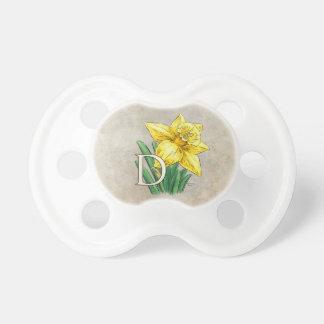 D para el monograma floral del narciso chupetes