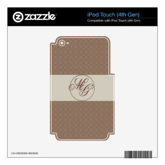 D Plaid Pattern with Monogrammed Initials Decals For iPod Touch 4G