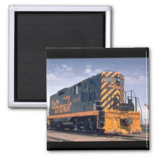 D&RGW standard gauge EMD GP-9_Trains 2 Inch Square Magnet