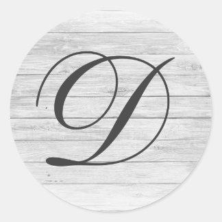 (D) Rustic Wood Monogram | Monogram Shop Classic Round Sticker