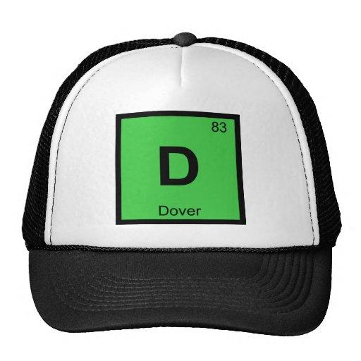 D - Símbolo de la tabla periódica de la química de Gorros Bordados