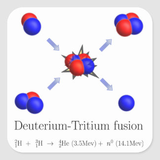 D-T fusion Square Stickers