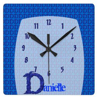 D - The Falck Alphabet (Blue) Square Wall Clock