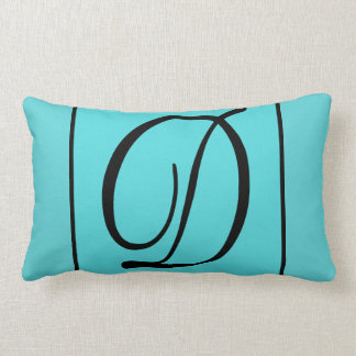 D - The Letter D on Turquoise Background Lumbar Pillow