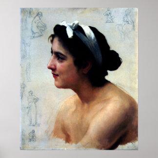 D une Femme l Amour de Bouguereau - de Étude del Posters