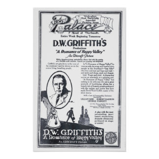 D.W. Griffith 1919 vintage movie ad poster