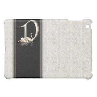 D White Damask Swans Monogram  iPad Mini Covers