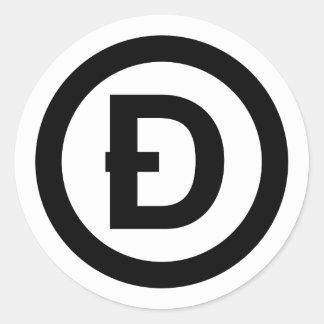 D with a Slash Dogecoin Round Sticker