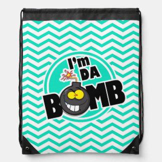 Da Bomb!  Aqua Green Chevron Drawstring Backpack