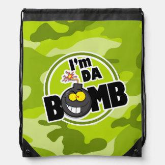 Da Bomb! bright green camo, camouflage Drawstring Bag