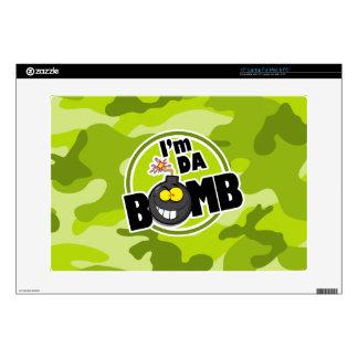 """Da Bomb! bright green camo, camouflage 15"""" Laptop Skins"""