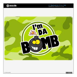Da Bomb! bright green camo, camouflage Skin For The MacBook Air