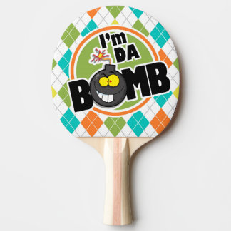 Da Bomb!  Colorful Argyle Pattern Ping-Pong Paddle
