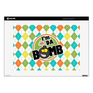 "Da Bomb!  Colorful Argyle Pattern Decals For 15"" Laptops"