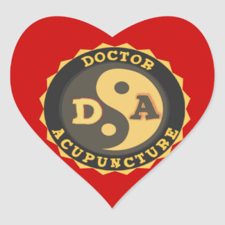 DA DOCTOR OF ACCUPUNCTURE LOGO HEART STICKER