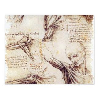 """da Vinci -- Bosquejo del hombro Invitación 4.25"""" X 5.5"""""""