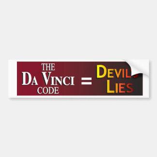 """Da Vinci """"código"""" = las mentiras del diablo Pegatina Para Auto"""